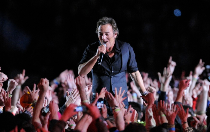 Bruce Springsteen performs during halftime of the NFL Super Bowl XLIII football game between the Arizona Cardinals and the Pittsburgh Steelers on Sunday, Feb. 1, 2009, in Tampa, Fla. (AP Photo/Mark J. Terrill)