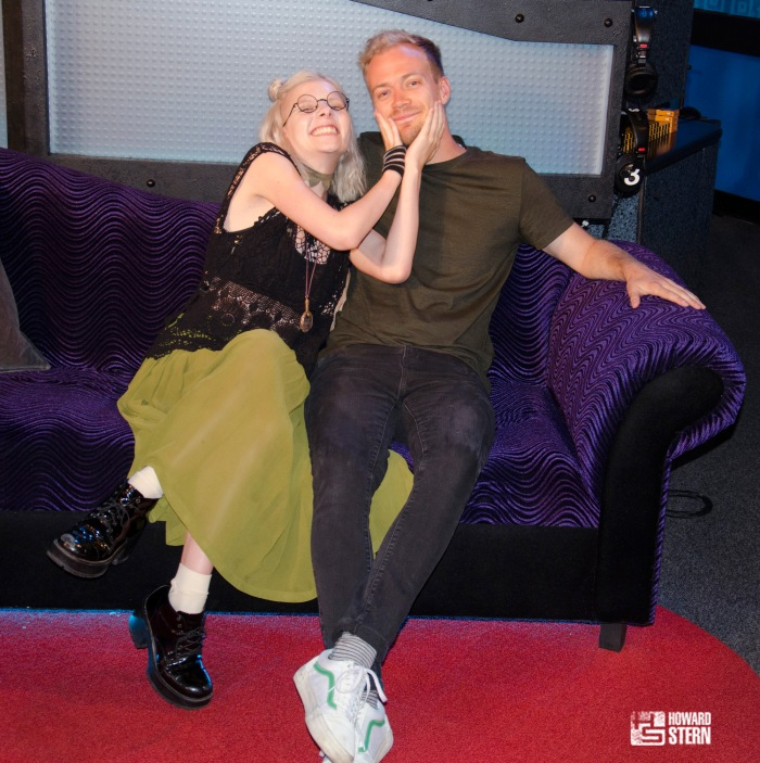 Aurora and Alf together on the Stern Show couch
