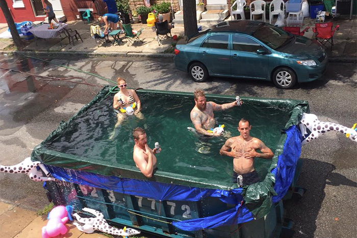 A photo of Philly's infamous dumpster pool
