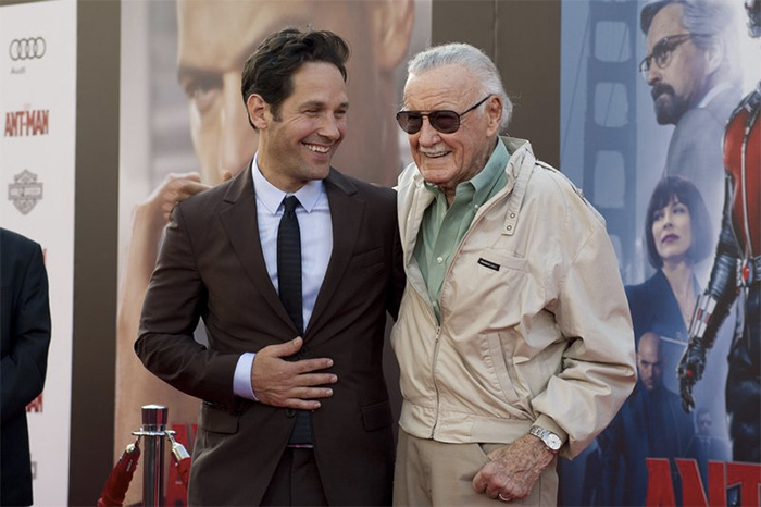 """Paul Rudd and Stan Lee attend the """"Ant-Man"""" premiere in 2015"""