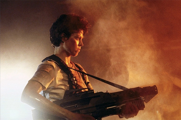 "Sigourney Weaver as Lt. Ripley in ""Aliens"" (1986)."