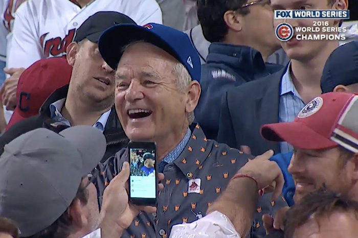 Bill Murray celebrates after Chicago Cubs win Game 7 of the 2016 World Series