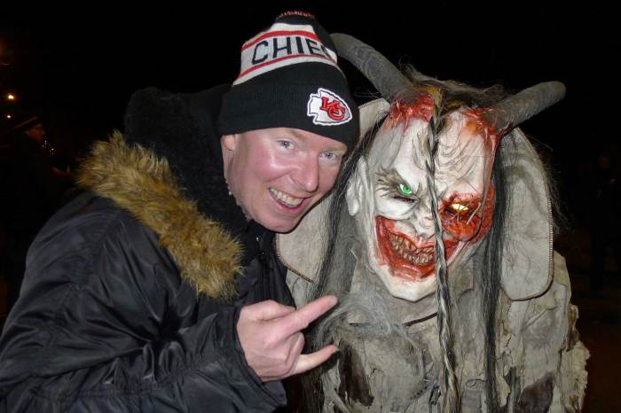 Richard Christy in Austria attending the Krampus run
