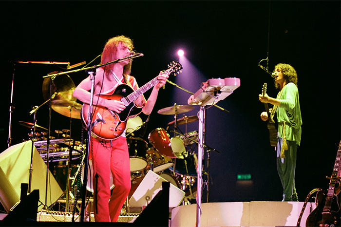 Steve Howe and Jon Anderson of Yes perform on stage at Wembley Arena on Oct. 28, 1978 in London.