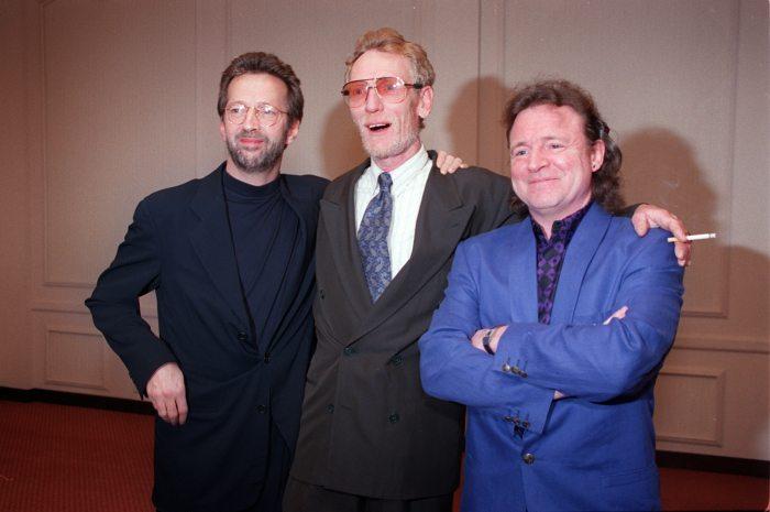 Cream members Eric Clapton, left, Ginger Baker, center, and Jack Bruce in 1993