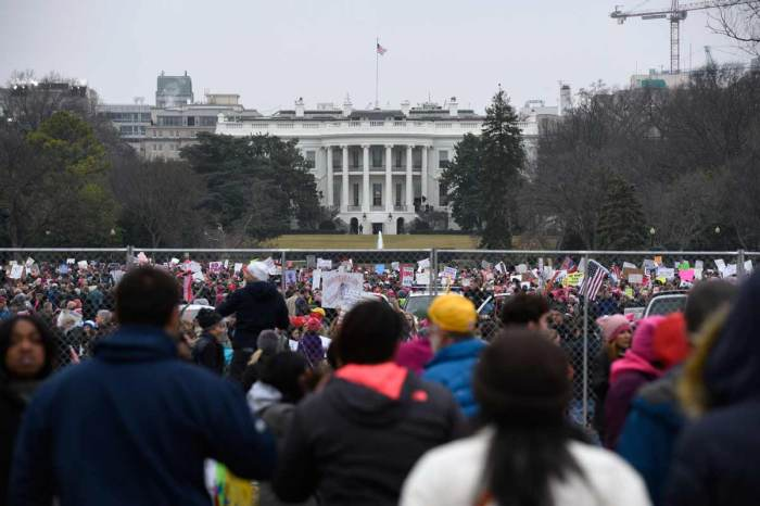 Demonstrators gather outside of the White House during Satuday's Women's March on Washington