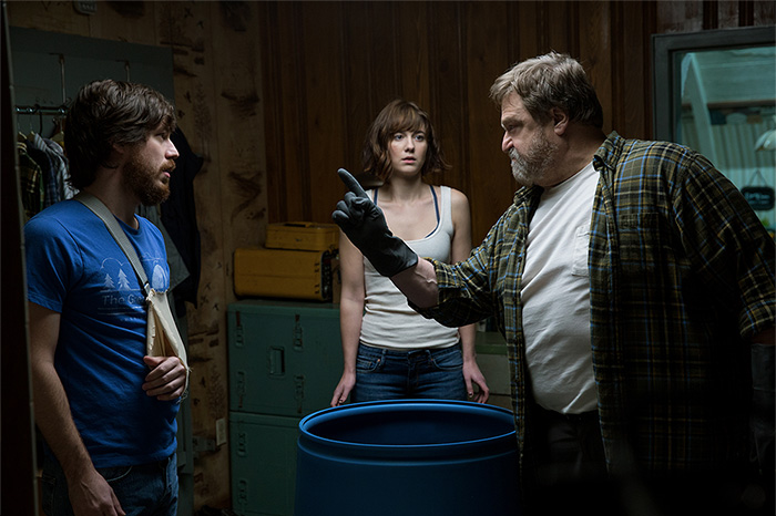 """John Gallagher Jr., Mary Elizabeth Winstead, and John Goodman in """"10 Cloverfield Lane"""" (2016)."""