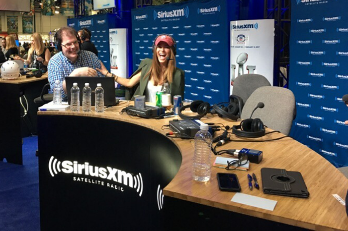 Jon Hein and Maria Menounos on the Wrap Up Show live from the Super Bowl