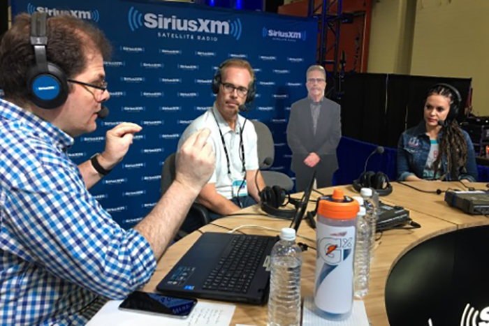 Jon Hein, Joe Buck, Alyssa Milano, and Flat Ronnie on the Wrap Up Show live from the Super Bowl