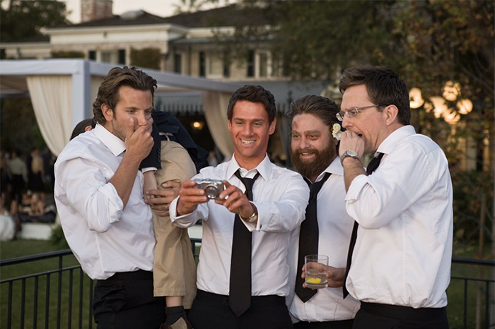 """Bradley Cooper, Justin Bartha, Zach Galifianakis, and Ed Helms in """"The Hangover."""""""