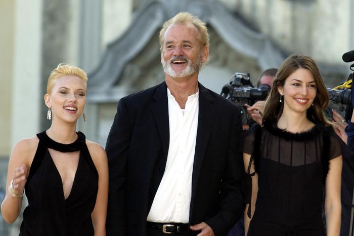 Scarlett Johansson, Bill Murray, and Sofia Coppola attend the 2003 Venice Film Festival