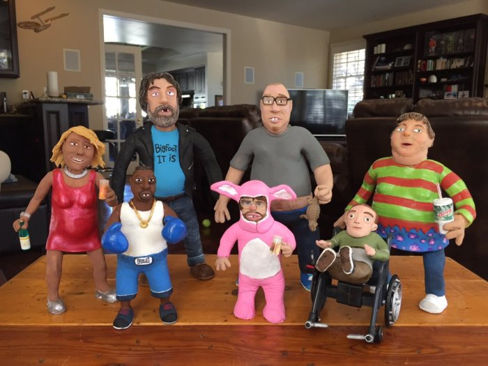 Tan Mom, Bigfoot, Beetlejuice, Hank the Angry Dwarf, High Pitch Erik, Eric the Actor, and Wendy the Slow Adult
