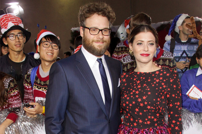 "Seth and Lauren Miller Rogen attend premiere of ""The Night Before"" in 2015."