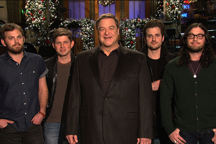 "John Goodman with rock band Kings of Leon on ""SNL"" in 2013"