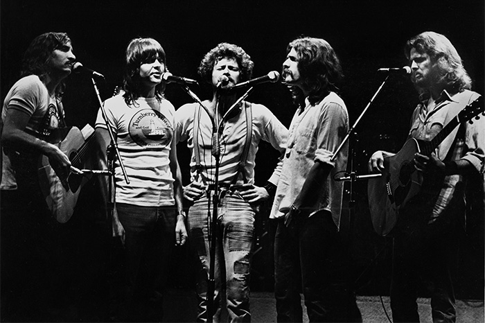 Joe Walsh, Randy Meisner, Don Henley, Glenn Frey and Don Felder of The Eagles perform on stage on May 11, 1977 in Rotterdam, Netherlands.