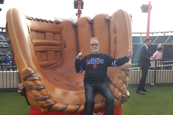 Ronnie Mund in a giant glove