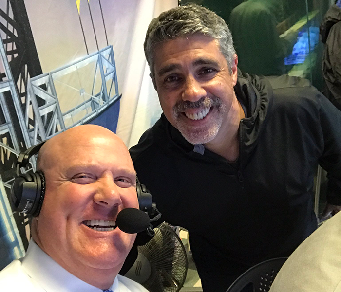 San Diego Padres Color Commentator Mark Grant with Gary Dell'Abate who was not seated with the rest of the staff