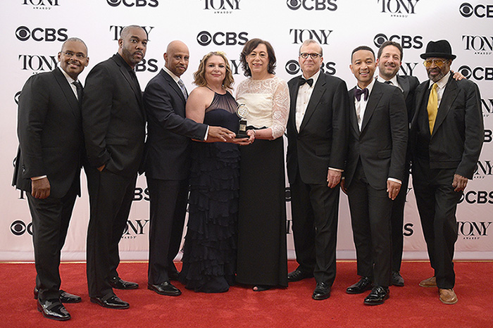 The crew of 'Jitney', winner of the award for Best Revival of a Play, poses in the press room during the 2017 Tony Awards.