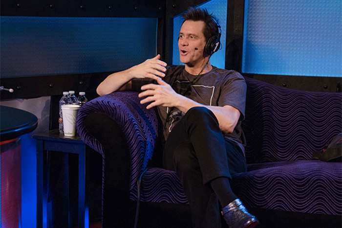 Jim Carrey during his 2014 Stern Show visit.