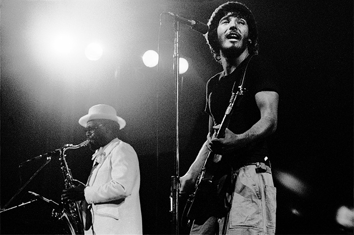 "Bruce Springsteen and Clarence Clemons in 1975 on the ""Born to Run"" tour"