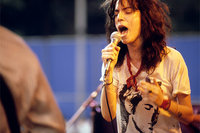 Patti Smith performs live in Central Park in 1978
