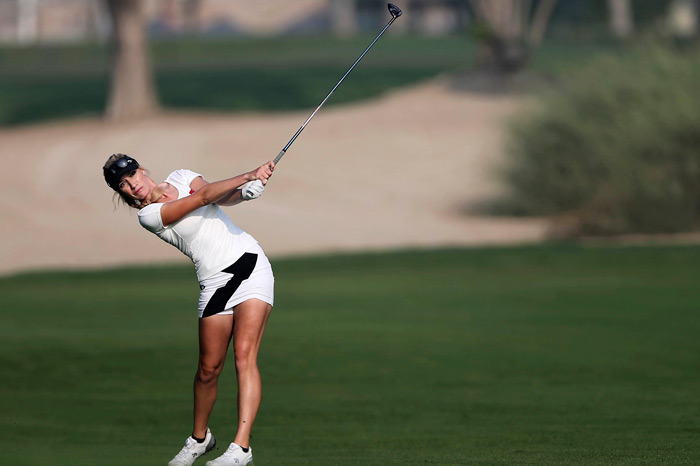 Paige Spiranac on 10th hole during the first round of the Dubai Ladies Masters golf tournament in Dubai