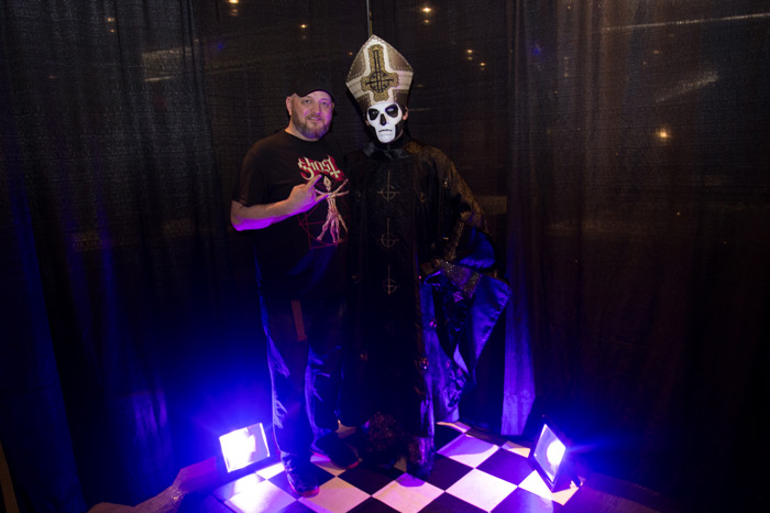 Brent with Papa Emeritus III, the lead singer of the heavy metal band Ghost who opened for Iron Maiden