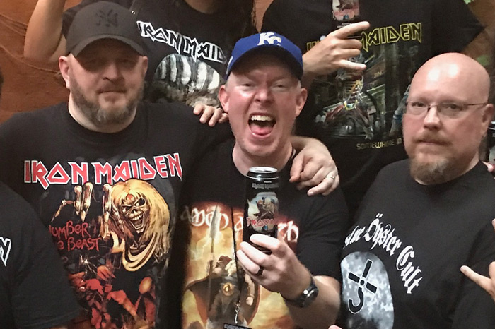 Stern Show staffers Brent Hatley and Richard Christy at Iron Maiden concert with Brian Slagel of Metal Blade Records