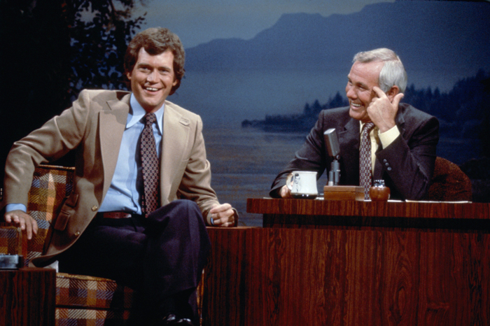 David Letterman with Johnny Carson on