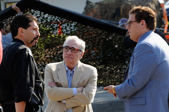 Jon Bernthal, Martin Scorsese, and Jonah Hill on the set of