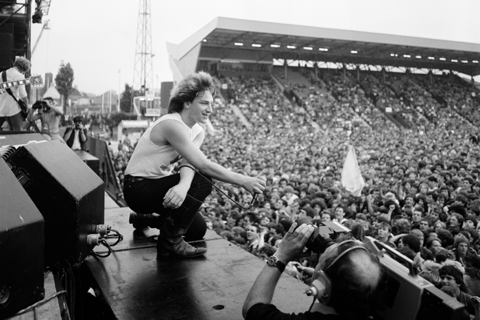 Bono and U2 in concert in July 1982