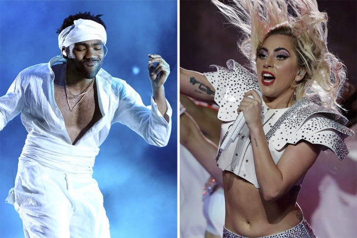 Childish Gambino (left) and Lady Gaga (right) perform