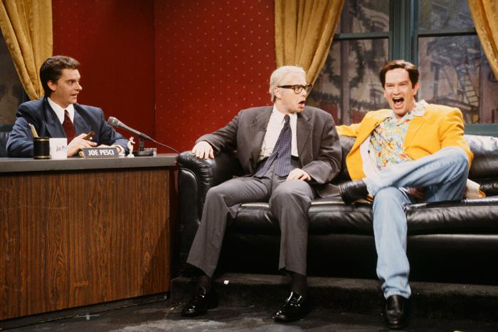 Jim Breuer as Joe Pesci, Jim Carrey as Jimmy Stewart, Mark McKinney as Jim Carrey during 'The Joe Pesci Show'