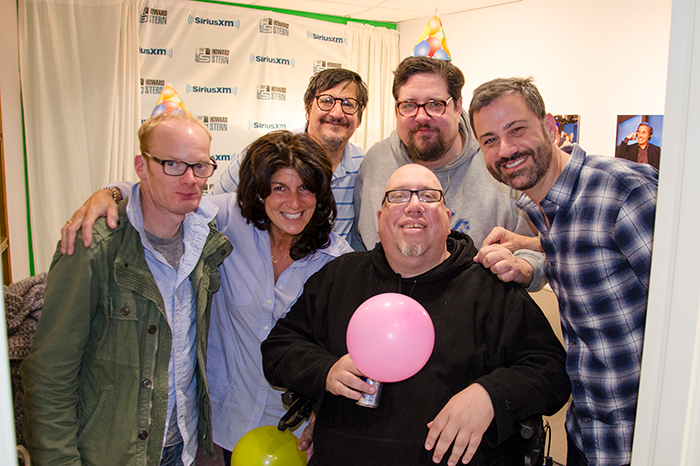 Medicated Pete (left) at the Jimmy Kimmel surprise party