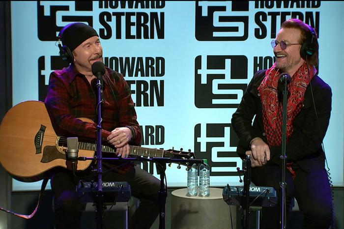 U2 band members The Edge and Bono on the Howard Stern Show in 2017