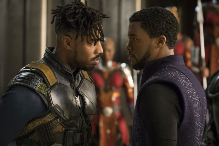 "Michael B. Jordan and Chadwick Boseman face off in ""Black Panther"" (2018)"
