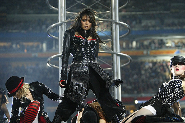 Jackson performs during the halftime show at Super Bowl XXXVIII on Feb. 1, 2004 in Houston