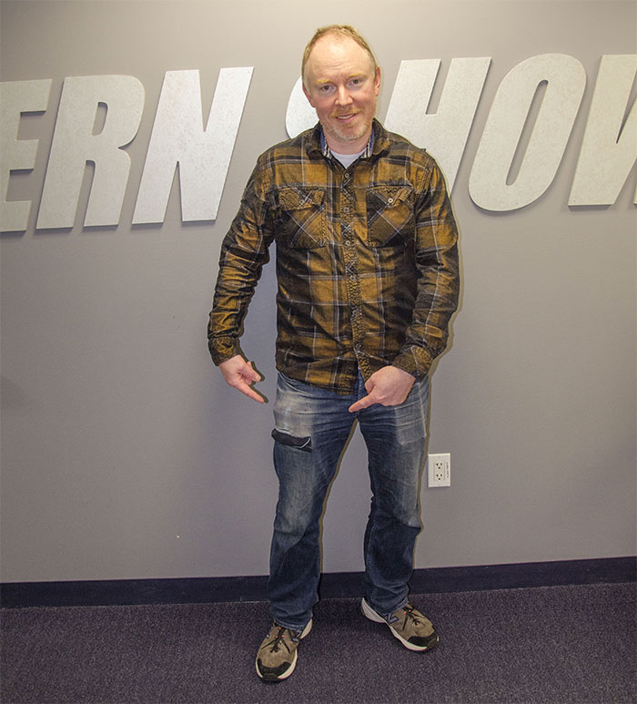 Richard Christy wearing his never-been-washed jeans