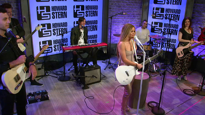 Maren Morris with her band in the Stern Show studio