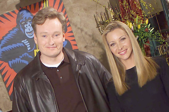 "Conan O'Brien and Lisa Kudrow on the set of ""Friends"" in 2001"
