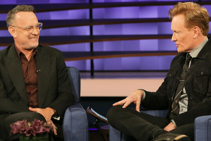 Conan O'Brien interviewing actor Tom Hanks in 2019