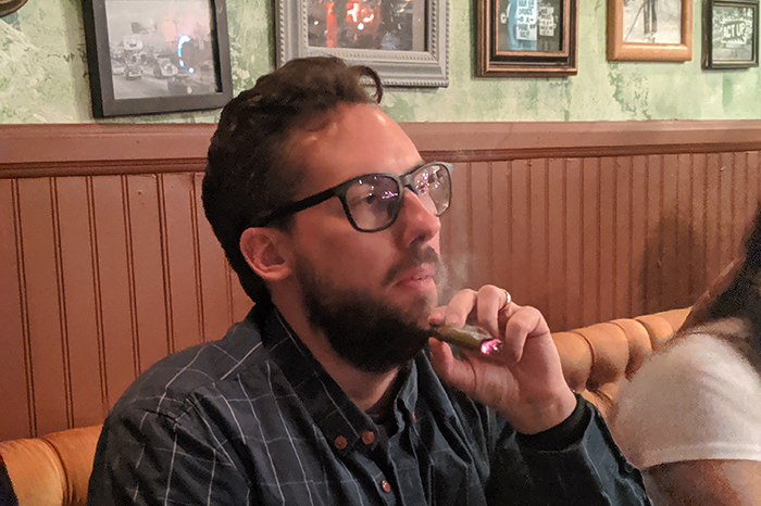 Staffer JD Harmeyer at a cannabis cafe in Los Angeles.