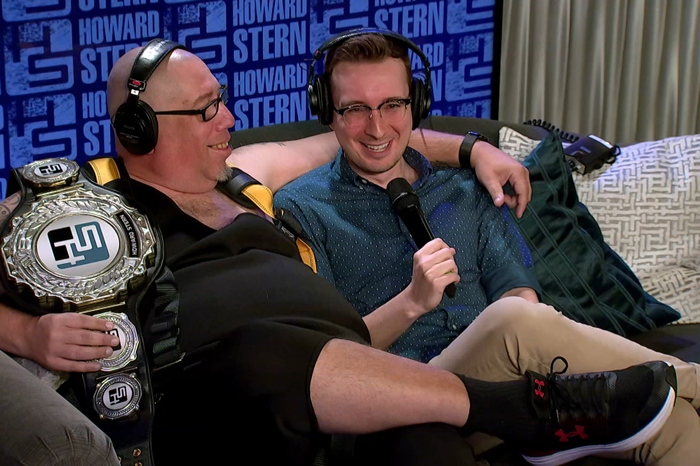 High Pitch Erik and Chris Wilding on the Stern Show couch together in November