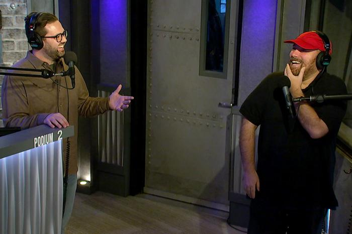 Stern Show staffers Derek Jones and Benjy Bronk in studio