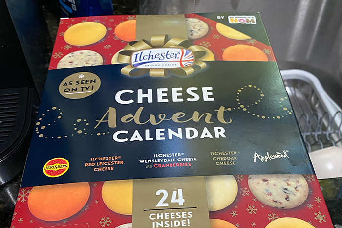 Just in time for the holidays, an Advent calendar made entirely of cheese.