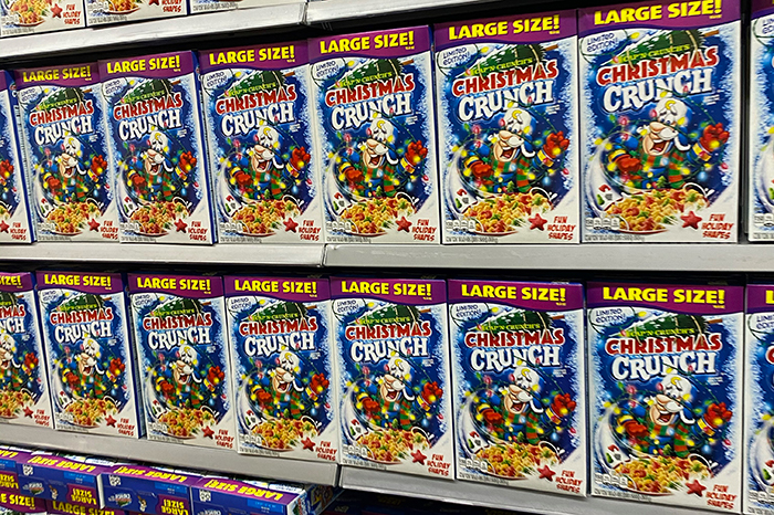 In addition to the pancake syrup, Shuli also found a wall of Cap'n Crunch's Christmas Crunch Cereal.