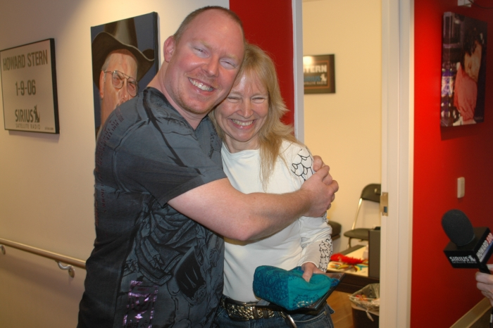 Richard Christy with Paula Gloria, a frequent target and good sport of his phony phone calls
