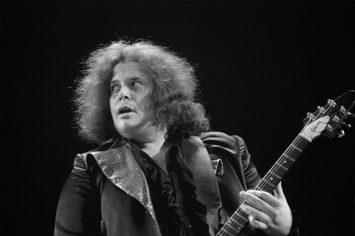 Leslie West of Mountain performs live on stage in 1973.